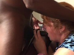 Mature redhead wife gets splitroasted and big black cock
