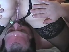 Cuckold condition, man eats wife ana fucked by a bull