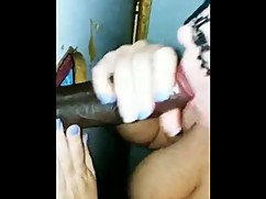 Dirty white wife gloryhole struggles with large black cocks