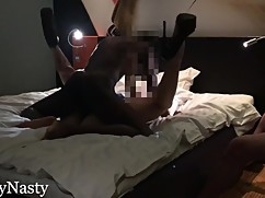 Man watches big black cock blowjob with a fat woman