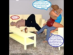 3d comic:cuckold wife cheats her husband with his friend