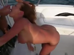 Young wife blow husband friend in the middle of the ship part(fuel injection)