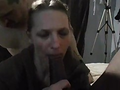 The husband fucks the wife and the dog at the same time, a black friend of his cock down her throat