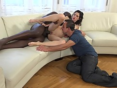 Women cuckold interracial sex with big black dicks while her husband watches