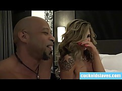 Cuckold licking black cum out of wifes asshole