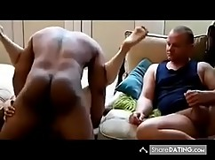 Man watches wife fuck a black cock