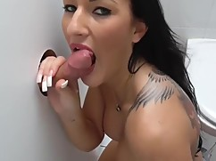Amateur wife gloryhole and cumshot in a threesome