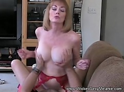 Son039_s mom riding cock on the couch
