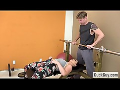 Unfaithful wife fuck in the gym trainer