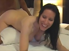 Shooting cougar wife getting fucked deep by a big black dick in hotel room