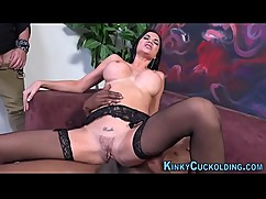 Plump hotwife sucking black cock