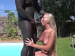 Sexy housewife fuck's big black dick anal