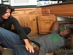 Sexy house wife mandy fucking young black man in the kitchen, plumber