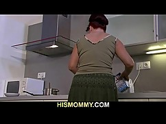 Lesbian fun with mom and the kitchen