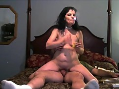 Sexy wife rides cock and gets dp with a dildo and a big hard cock