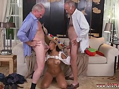 Jane gets fucked by a old man and the old woman, couple young guy and old woman naked and old