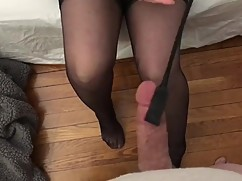 Hotwife punishes cuck cum in stockings