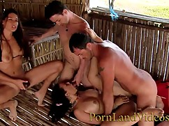 Hot whore group, wife slut anal with an orgy at the beach, double penetration