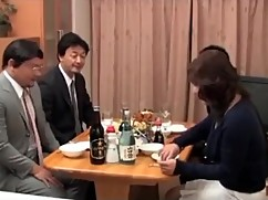 Japanese drunk wife and her husband friend