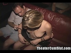 A slut with a tattoo, and then a porn theater for a gang banging