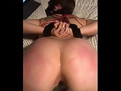 Pawg slut wife tied up and fucked big black cock dildo
