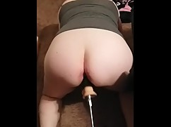 Wife gets fucked by machine big black cock attachment and cum!
