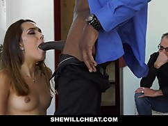 Shewillcheat - hot young wife fuck a big black cock while man watches